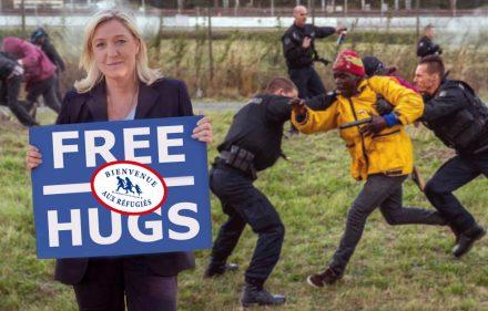 marine-le-pen-free-hugs-calins-gratuits-migrants-refugies-calais-fn-secretnews