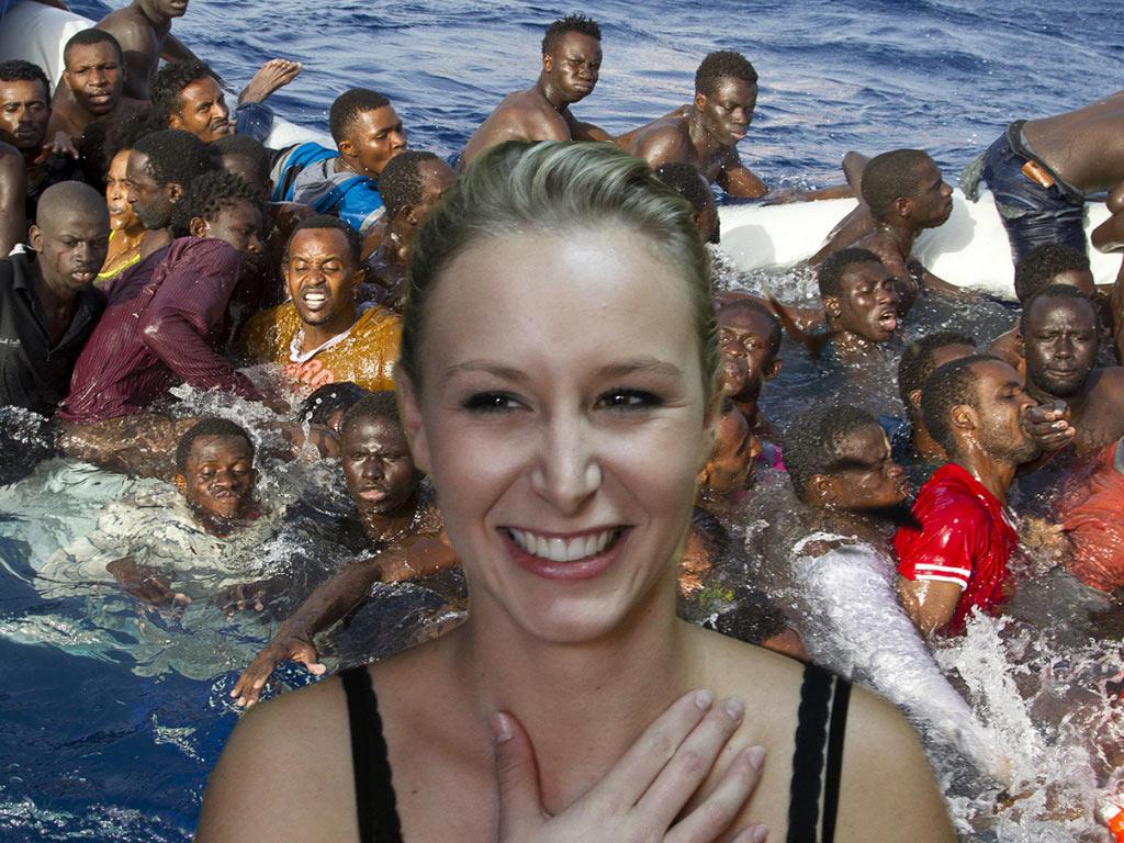 """Marion Maréchal Le Pen nage avec les migrants : """"Je me suis trompée, ils sont charmants"""""""