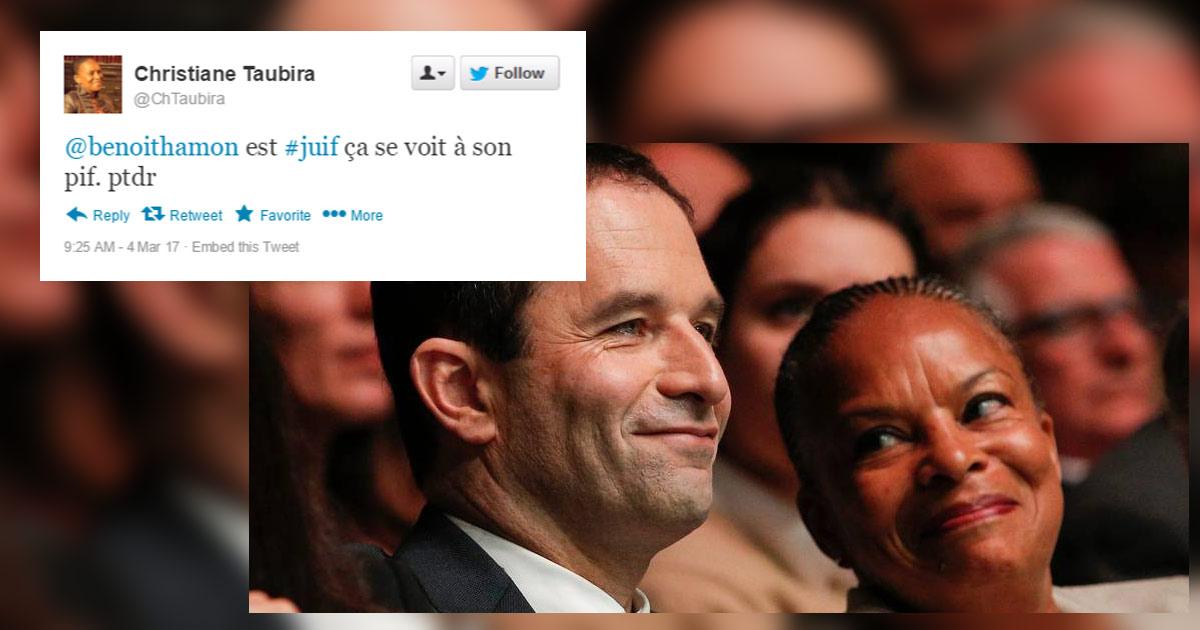 """""""Benoit Hamon est juif, ça se voit à son pif"""" - Les tweets antisémites de Christiane Taubira"""