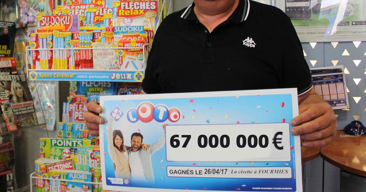 il gagne 67 millions d 39 euros au loto et d cide de partager en donnant 1 chaque fran ais. Black Bedroom Furniture Sets. Home Design Ideas