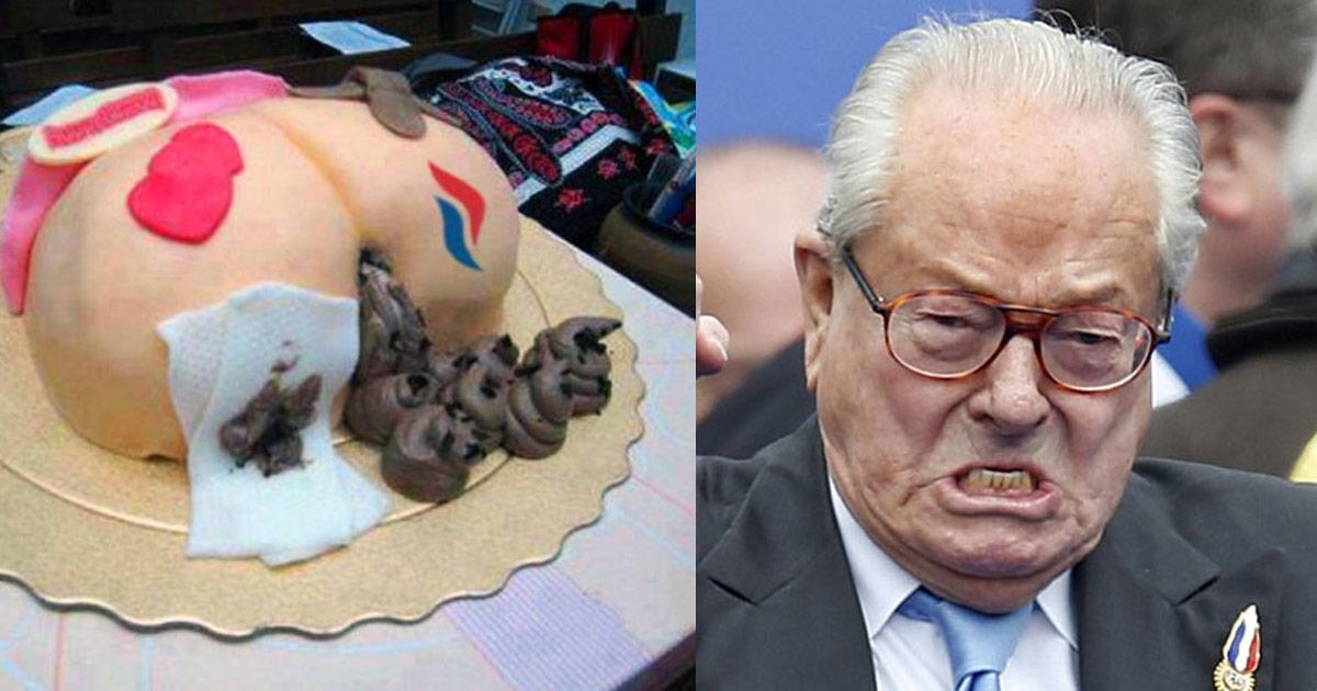 Jean-Marie Le Pen en colère en découvrant le gâteau d'anniversaire envoyé par sa fille Marine