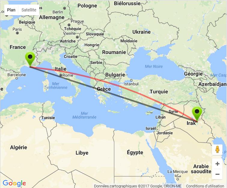 carte-marseille-irak IRAK : Un «kill shot» à 3500 kilomètres pour un sniper marseillais