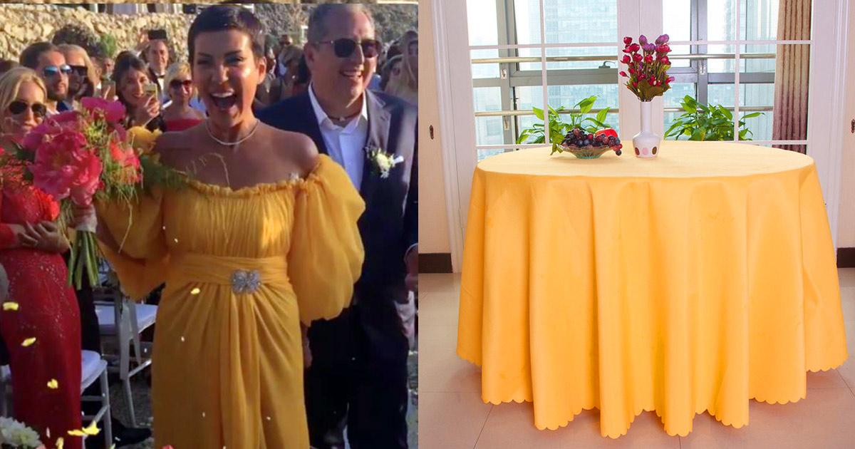 Cristina Cordula improvise sa robe de mariée avec une nappe après avoir fait une tache