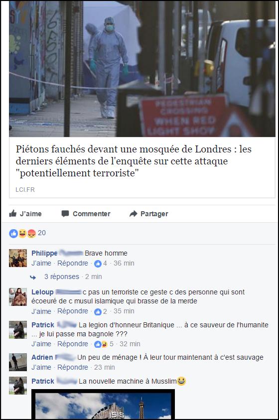 """commentaire-raciste-facebook-1 Quand les """"patriotes"""" se réjouissent d'un acte terroriste meurtrier, c'est aussi de la radicalisation"""