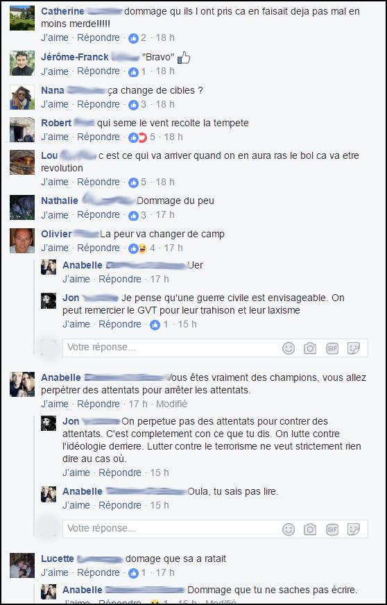 """commentaires-racistes-facebook-4-2 Quand les """"patriotes"""" se réjouissent d'un acte terroriste meurtrier, c'est aussi de la radicalisation"""