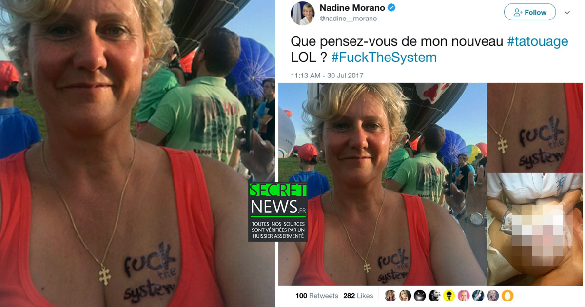 """Fuck The System"" : Le nouveau tatouage surprenant de Nadine Morano"
