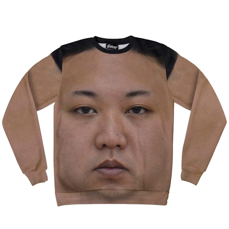 KimJongUnsweatshirt Kim Jong Un impose sa tête en grand sur l'uniforme des soldats nord-coréens