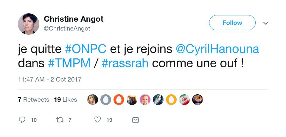 angottweet Christine Angot quitte ONPC et devient chroniqueuse chez Cyril Hanouna dans TPMP