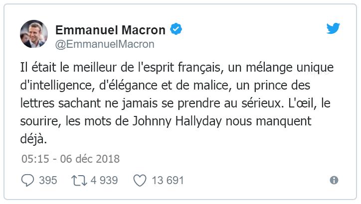 """emmanuel-macron-tweet-mort-johnny-hallyday Johnny Hallyday est mort, Emmanuel Macron rend hommage au """"meilleur de l'esprit français"""""""