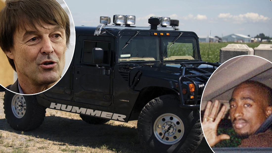nicolas hulot ach te aux ench res le hummer de tupac seulement pour aller la boulangerie. Black Bedroom Furniture Sets. Home Design Ideas