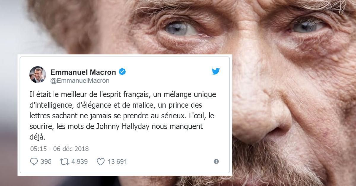 """Johnny Hallyday est mort, Emmanuel Macron rend hommage au """"meilleur de l'esprit français"""""""