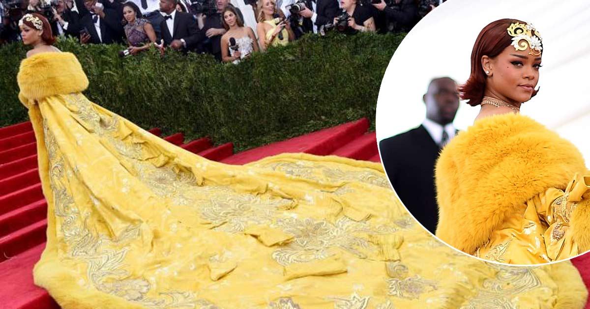"""Pour fêter la Chandeleur, Rihanna porte une très belle robe """"pâte à crêpes"""""""