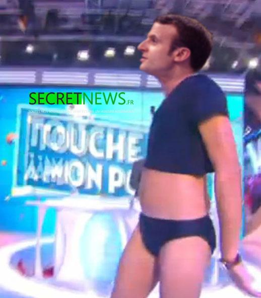 macron-danse-slip-hanouna-tpmp-secretnews Pour séduire les Français et leur faire oublier les grèves, Macron dansera en slip chez Hanouna ce vendredi