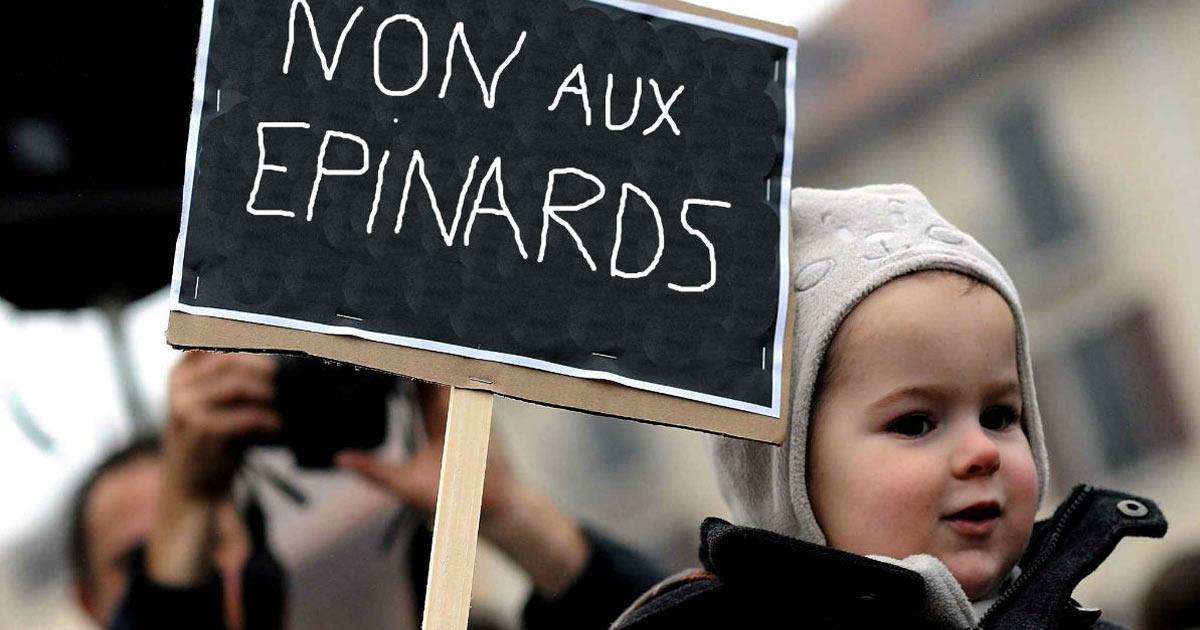 manifestation-enfant-maternelle-non-aux-epinards Des rats géants découverts dans la cuisine du Fouquet's à Paris !