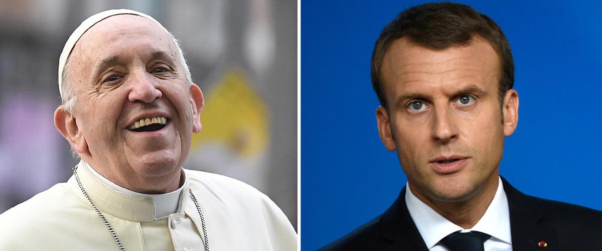 """""""Si tu veux la révolution, commence par éliminer les protestants"""" - Emmanuel Macron recadre le Pape François qui l'a appelé Manu"""