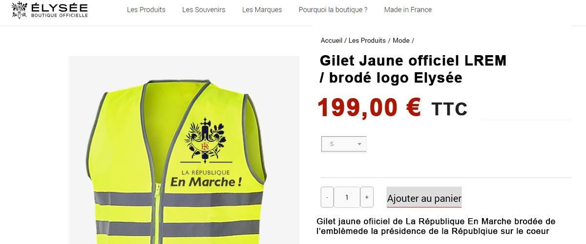 Un Gilet Jaune au logo LREM vendu sur la boutique officielle de l'Élysée
