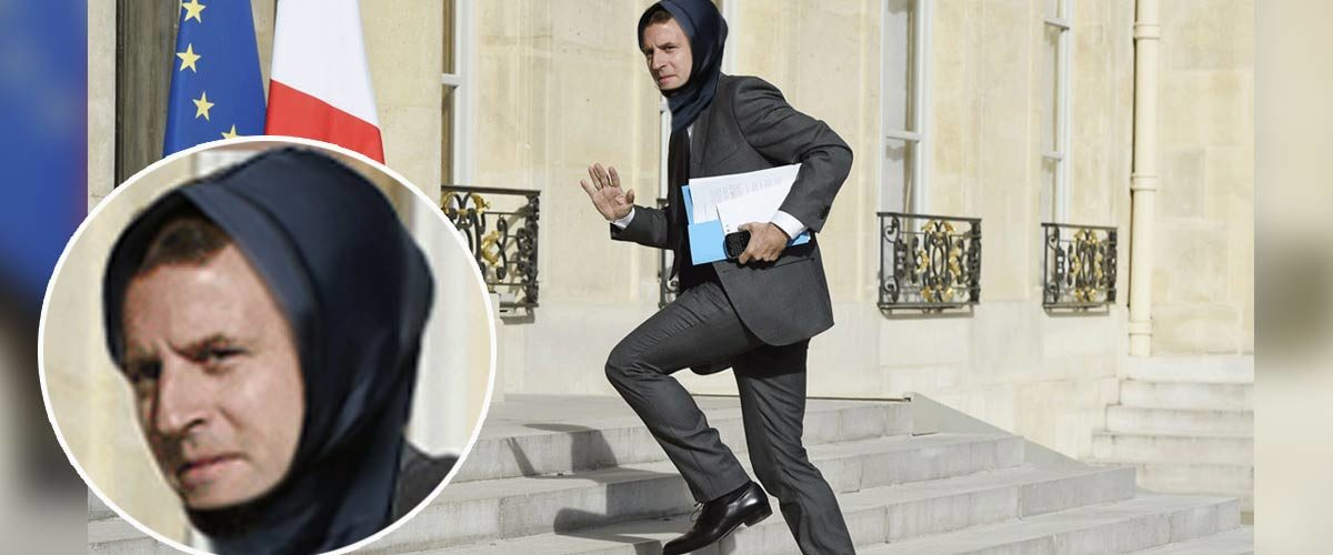 """Macron enfile un """"hijab de course"""" chaque matin pour venir plus vite à l'Élysée"""