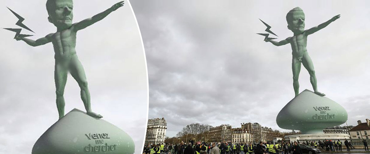 Une statue à la gloire d'Emmanuel Macron érigée Place de la Bastille ...